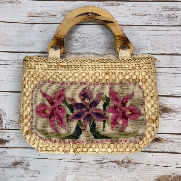 Bags Boutique Vintage Straw Purse Hand Embroidery Poshmark